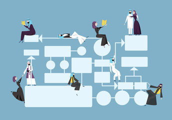 Business flowchart, process management diagram with arab businessmans characters in arabian national dress. Vector illustration, isolated on blue background.