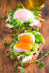 Bruschetta With Goat Cream Cheese , Fava Beans and Poached Egg