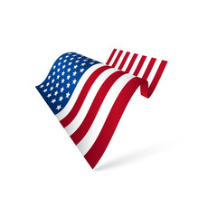 American flag waving, isolated.