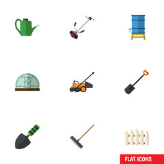 Flat Icon Garden Set Of Wooden Barrier, Harrow, Bailer And Other Vector Objects. Also Includes Greenhouse, Watering, Lawn Elements.