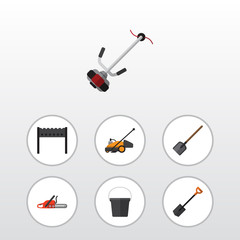 Flat Icon Farm Set Of Lawn Mower, Spade, Hacksaw And Other Vector Objects. Also Includes Lawn, Bbq, Barbecue Elements.