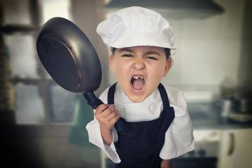Angry girl chef