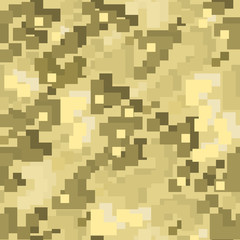 Brown pixel camo seamless pattern