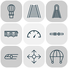 Transport Icons Set. Collection Of Vehicle, Skydive, Flight Basket And Other Elements. Also Includes Symbols Such As Bus, Balloon, Metro.