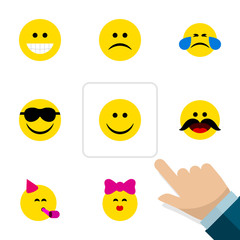 Flat Icon Expression Set Of Joy, Happy, Caress And Other Vector Objects. Also Includes Fun, Cheerful, Tears Elements.