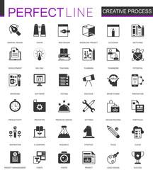 Black classic creative process web icons set.