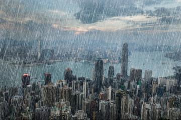 falling rain in Hong Kong city