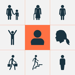 Person Icons Set. Collection Of User, Ladder, Gentlewoman Head And Other Elements. Also Includes Symbols Such As Delivery, Climbing, Person.