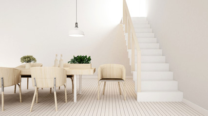 dining area white tone in home or apartment - 3D Rendering