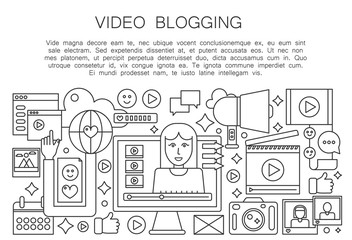 Video blogger thin line concept. Computer screen with female woman blogger. Personal blogging channel broadcasting outline stroke vector illustration.