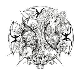 Horoscope Pisces, Black lines