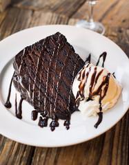 Piece of Chocolate Cake with Vanilla Ice Cream