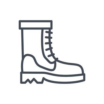 Men Boots line Icon Clothes