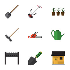Flat Icon Farm Set Of Bailer, Grass-Cutter, Hacksaw And Other Vector Objects. Also Includes Farmhouse, Botany, Saw Elements.