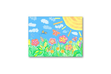 """Frame with kid's art, pencils drawing """"summer fantasy"""". Interior decor mock up for children's area"""
