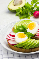 Healthy avocado sandwiches with eggs and radish.  Clean eating.