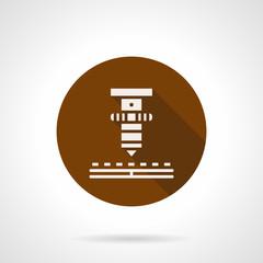 High precision laser brown round vector icon