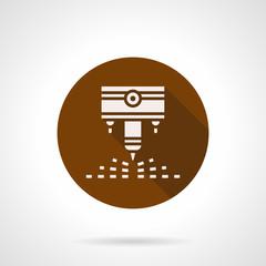 Engraving laser machine brown round vector icon