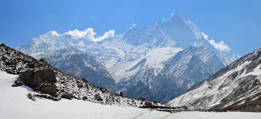 Panoramic Mountain Landscape in Himalaya. View to Machapuchare Top, Fish Tail Peak.