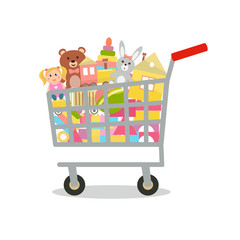 Shopping cart with toys. Vector illustration