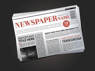 Half of newspaper template with headline. Vector illustration isolate
