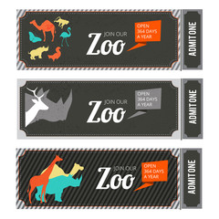Design template of zoo tickets with different wild animals on it and place for your text
