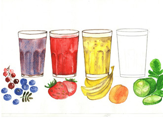 Fruit, berry smoothies in glass glasses, one empty glass and berries, fruit on a white background.