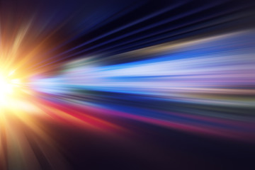 motion blur fast business and technology background concept, Acceleration super zoom blurry night road. Wall mural