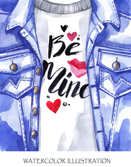 Valentines Day Card. Hand painted jeans jacket with lovely words.
