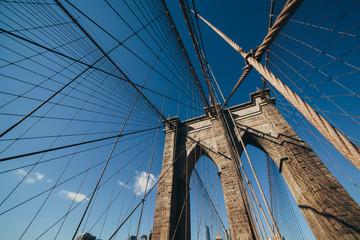 Brooklyn Bridge: brick tower & steel cable detail