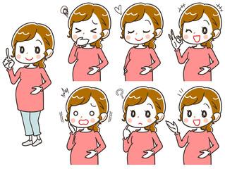 妊婦のイラスト(セット・全身)