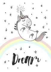 Magic cute unicorn on the rainbow, doodle nursery art