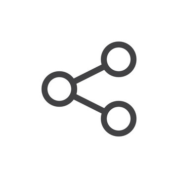 Share line icon, outline vector sign, linear style pictogram isolated on white. Connection symbol, logo illustration. Thick line design. Pixel perfect graphics
