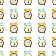 Flat clocks seamless pattern design - alarm background