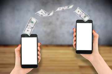 Mobile banking with woman hand ordering money transfer with smartphone