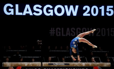 Elsabeth Black of Canada performs on the beam during the women's team final at the World Gymnastics Championships at the Hydro arena in Glasgow
