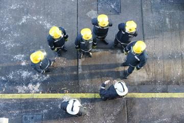 fire-fighters in full fire kit, fire crew