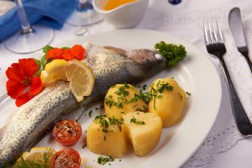 Forelle blau gedünstet mit Salzkartoffel serviert und dekoriert