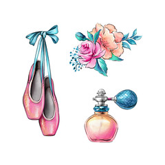 watercolor illustration, ballerina shoes, flowers, fragrance jar, retro fashion accessories isolated on white background