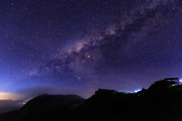 The milky way above Mount Batur just before dawn in Bali, Indonesia.