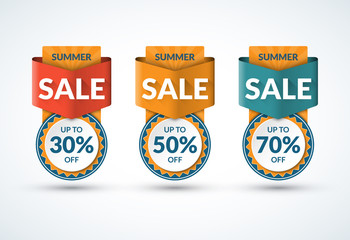 Summer sale banners set. Special offer, discount design templates. Up to 30, 50, 70 percent off. Vector illustration