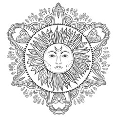 Boho hand-drawn vintage sun with doodle mandala. Gypsy and hipster vector illustration for coloring book, t-shirts design, tattoo.