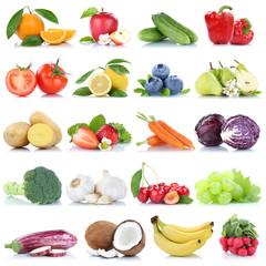 Spoed Foto op Canvas Keuken Obst und Gemüse Früchte Apfel Orange Zitrone Beeren Bananen Freisteller freigestellt isoliert