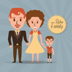 retro family parents with their son vector illustration