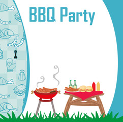 Barbecue Party menu card Invitation