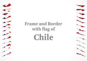 Frame and border with flag of Chile. 3d illustration