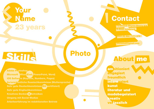 Infographics resume in the style of Suprematism. Designer modern resume. CV in infographics.