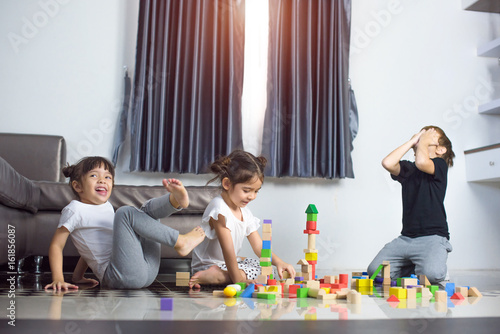 family, childhood, creativity, activity kids enjoy playing together with action in different emotion
