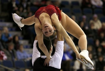 Ziegler and Kiefer of Austria perform during the Pairs Free program at Skate Canada International in Lethbridge