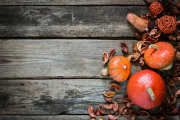 autumn decorated wooden table. top view